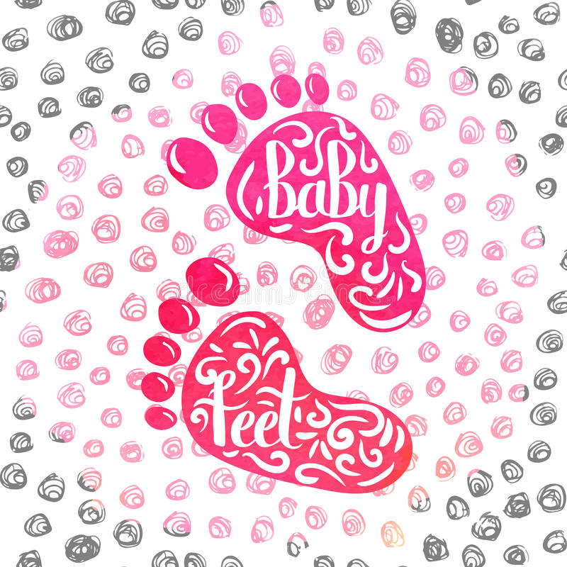 Scritto a mano un manifesto variopinto che annuncia le stampe dei piedi dei bambini illustrazione vettoriale