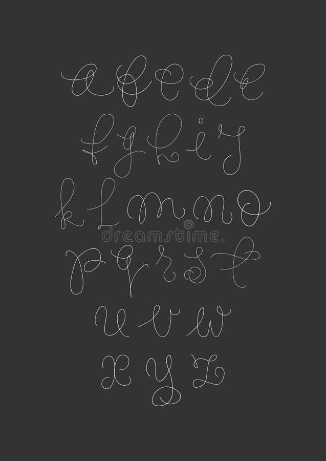 Scritto scritto a mano della spazzola di vettore Lettere bianche su fondo nero illustrazione di stock