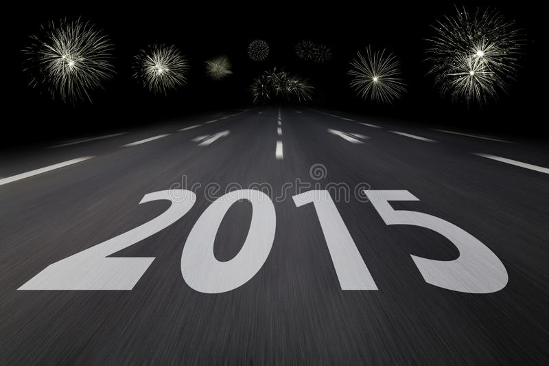 2015 scritto su asfalto illustrazione di stock