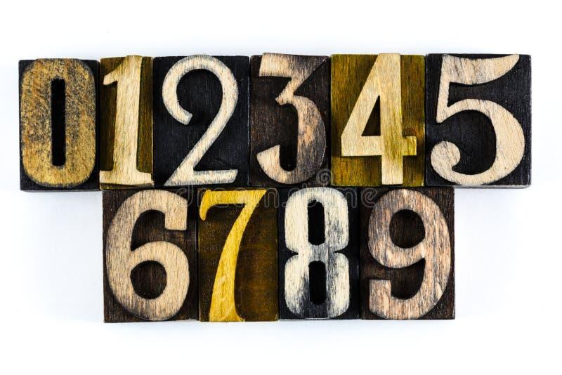 Scritto tipografico d'apprendimento di legno di numeri 123 fotografia stock libera da diritti