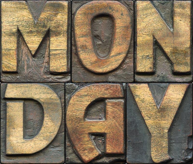 Scritto tipografico di legno di lunedì fotografia stock