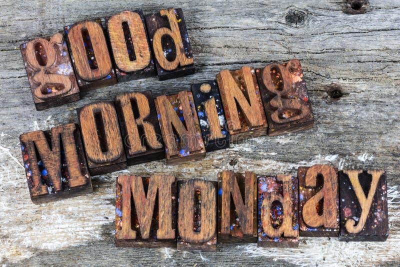Scritto tipografico di saluto di lunedì di buongiorno fotografia stock libera da diritti