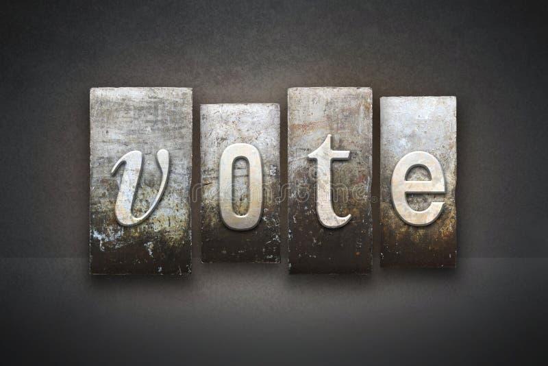 Scritto tipografico di voto fotografia stock libera da diritti