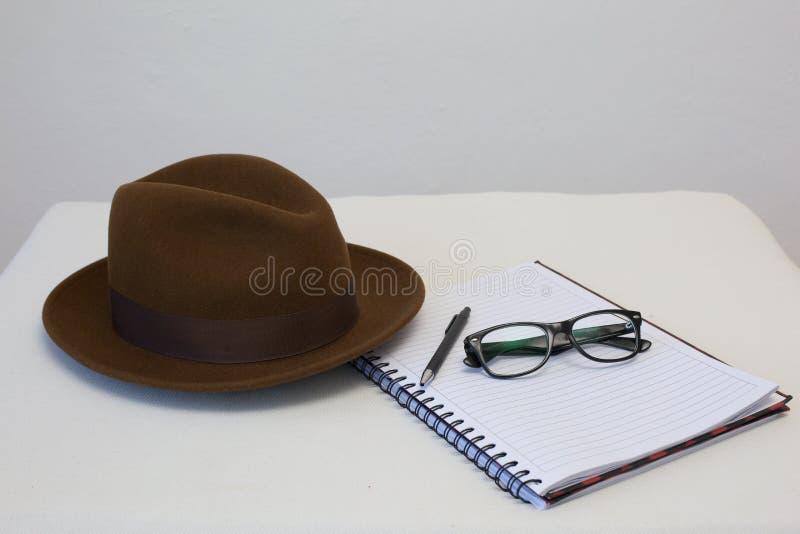 Scrittore del cappello di Fedora fotografia stock