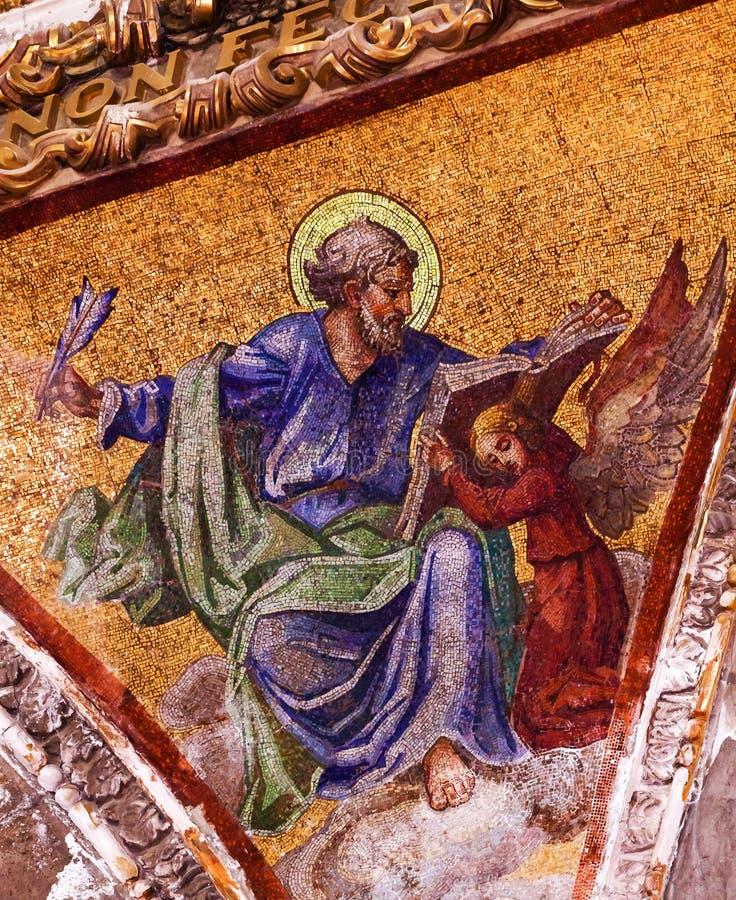 Scrittore Mosaic Old Basilica del vangelo di Guadalupe Mexico City Mexico fotografia stock