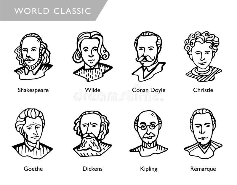Scrittori famosi del mondo, ritratti di vettore, Shakespeare, Wilde, Conan Doyle, Christie, Goethe, Dickens, Kipling, Remarque illustrazione di stock