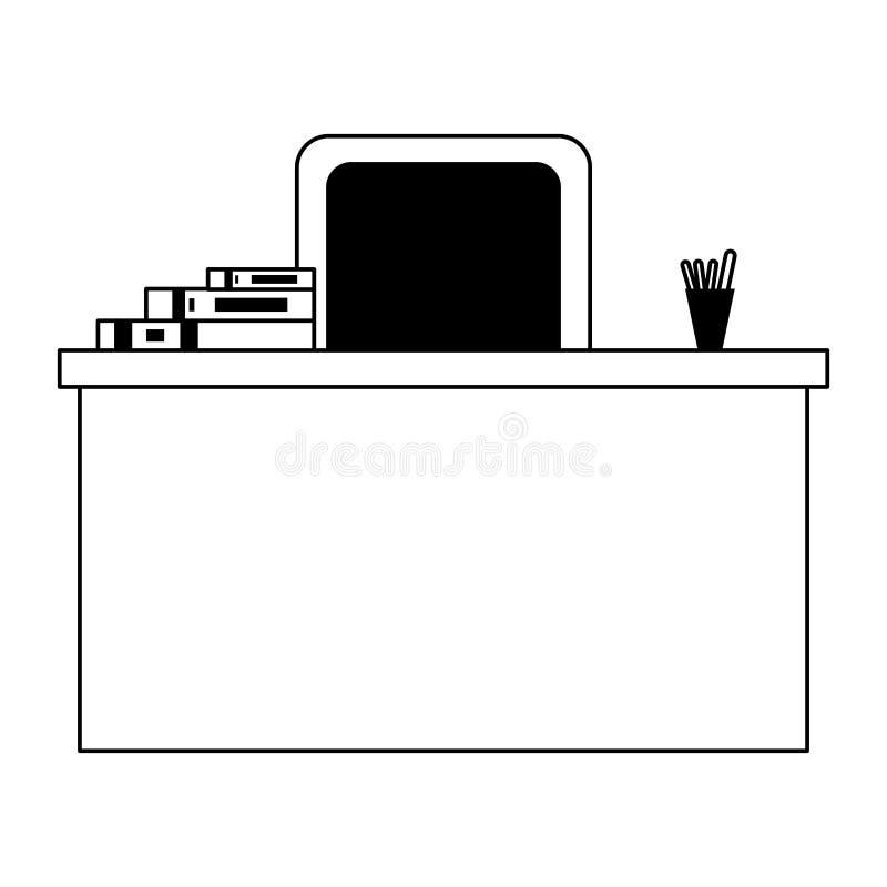 Scrittorio con i libri e sedia isolata in bianco e nero illustrazione di stock