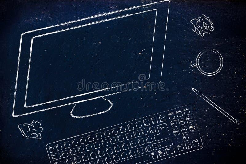 Scrittorio con lo schermo di computer, la tastiera ed il caffè immagine stock