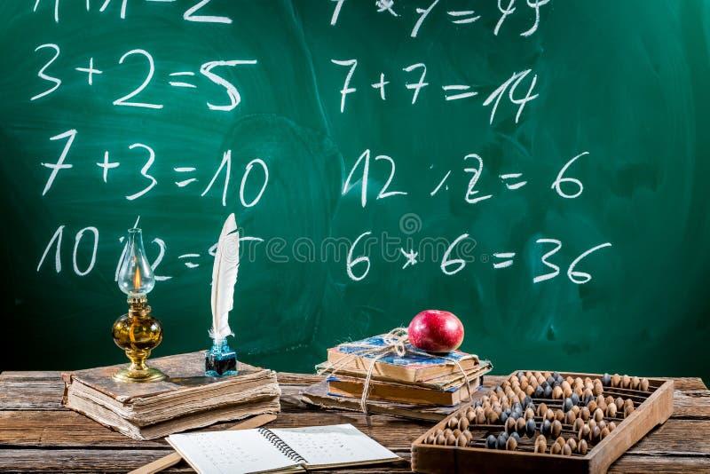 Scrittorio d'annata di matematica con i libri fotografie stock