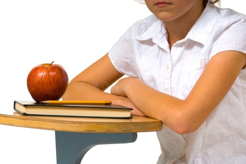 Scrittorio del banco con la mela immagini stock libere da diritti
