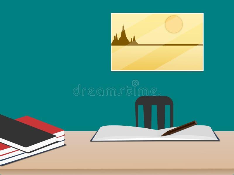 Scrittorio del lavoro con i libri nella stanza sulla parete verde con l'immagine sulla finestra illustrazione vettoriale