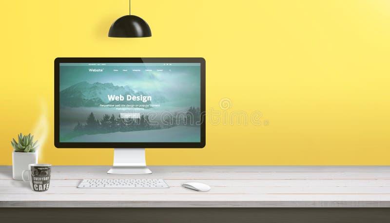 Scrittorio del lavoro dello studio di web design con il visualizzatore del computer, la tastiera, il topo, la pianta e la tazza d royalty illustrazione gratis