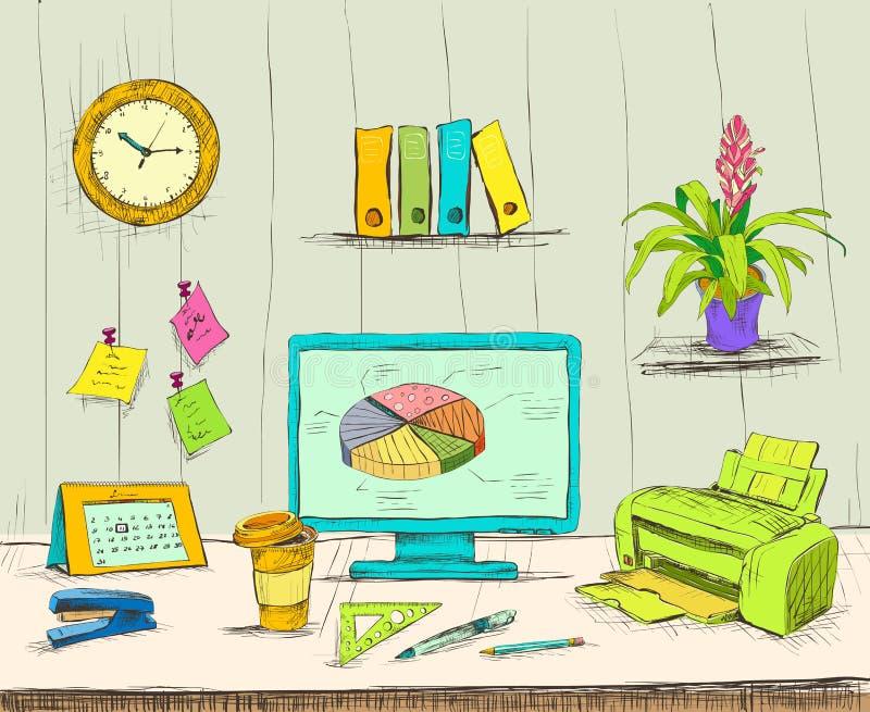 Scrittorio dell'interno dell'ufficio del posto di lavoro di affari illustrazione di stock