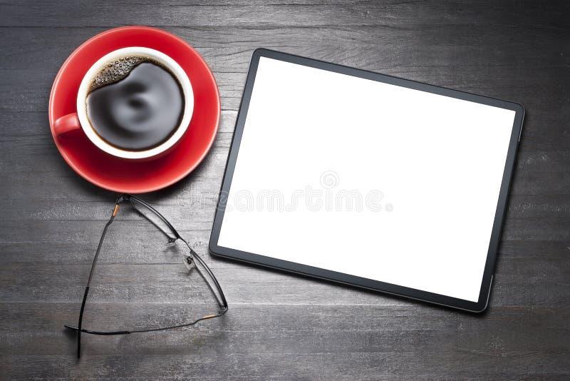 Scrittorio dello spazio in bianco del computer della compressa immagini stock