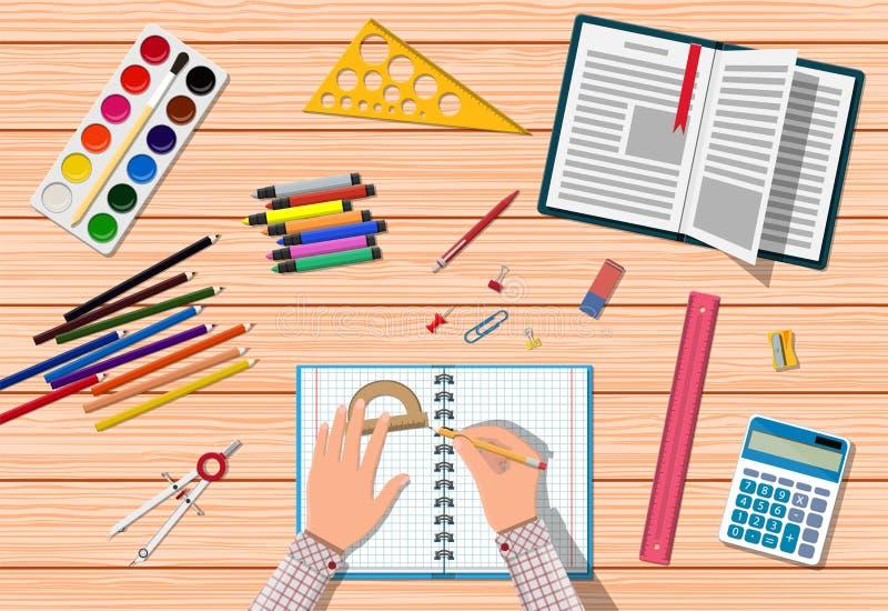 Scrittorio di legno degli studenti illustrazione di stock