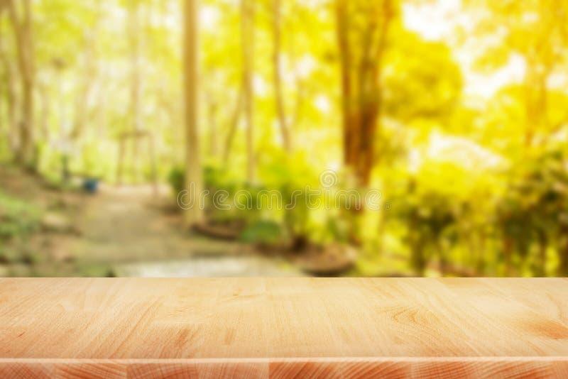 Scrittorio di legno del piano d'appoggio nel fondo di mattina del giardino - può essere f usata immagine stock libera da diritti