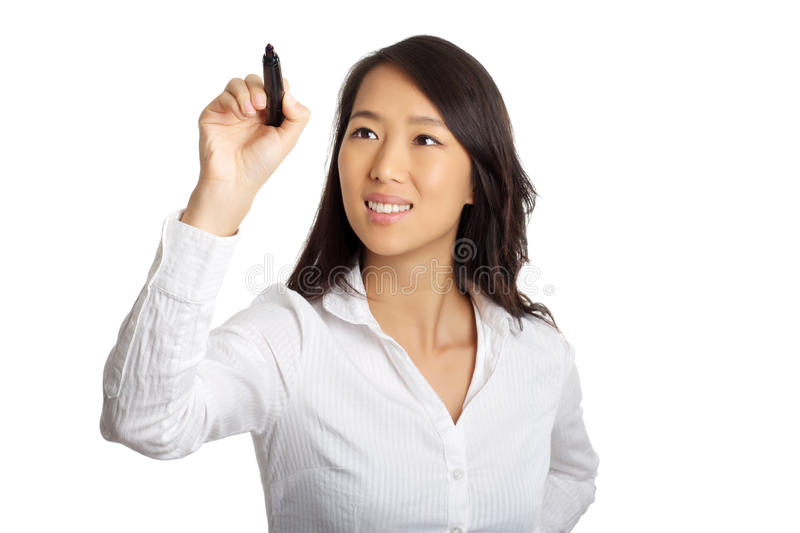 Scrittura asiatica della donna di affari immagine stock