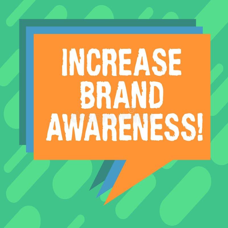 Scrittura concettuale della mano che mostra consapevolezza di marca di aumento Montrare della foto di affari convince i influence illustrazione vettoriale