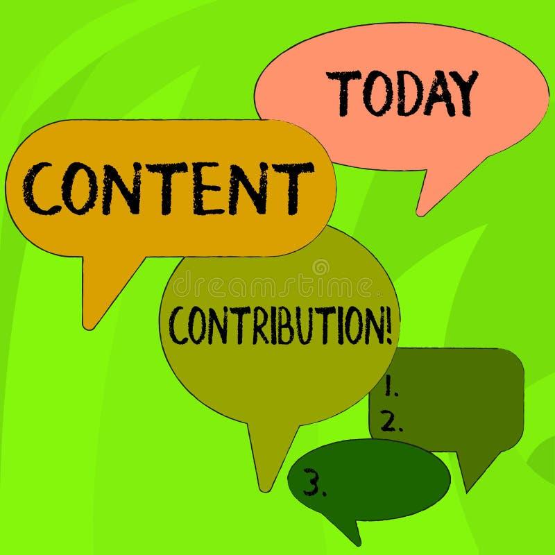 Scrittura concettuale della mano che mostra contributo contento Contributo del testo della foto di affari di informazioni a quals illustrazione vettoriale