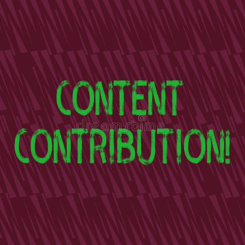 Scrittura concettuale della mano che mostra contributo contento Foto di affari che montra contributo di informazioni a c'è ne illustrazione di stock