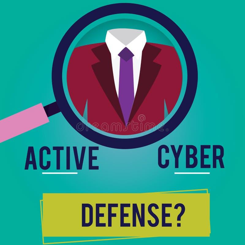 Scrittura concettuale della mano che mostra Defensequestion cyber attivo Foto di affari che montra agire nell'anticipazione da op royalty illustrazione gratis