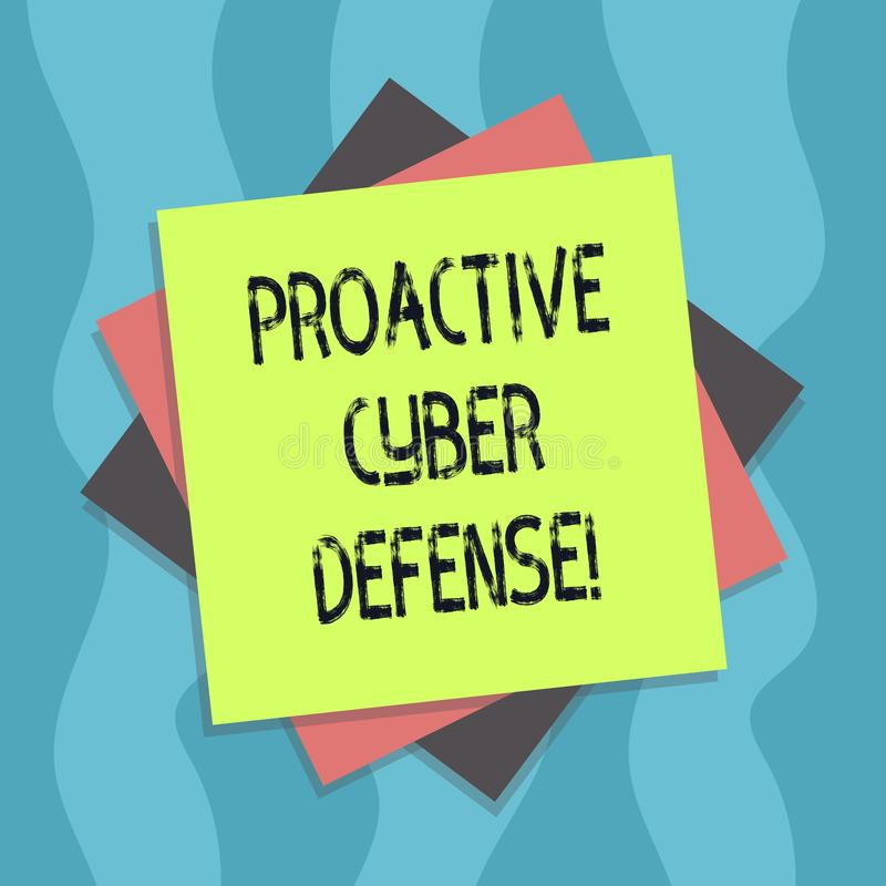 Scrittura concettuale della mano che mostra difesa cyber dinamica Anticipazione del testo della foto di affari per opporrsi ad un illustrazione di stock