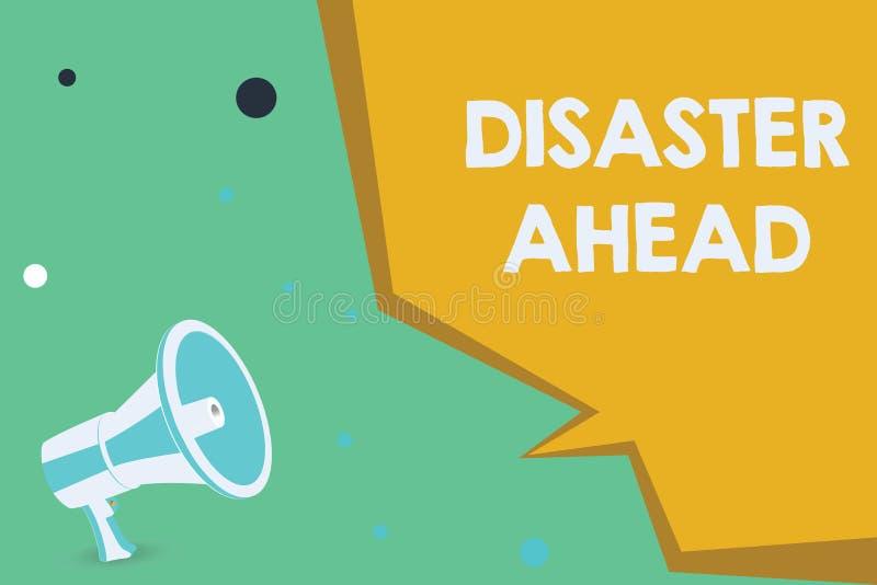 Scrittura concettuale della mano che mostra disastro avanti Foto di affari che montra piano di emergenza che prevede un disastro  illustrazione vettoriale