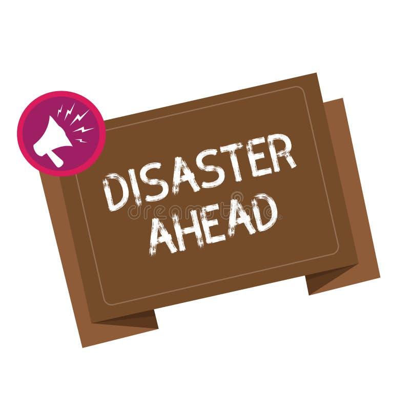 Scrittura concettuale della mano che mostra disastro avanti Foto di affari che montra piano di emergenza che prevede un disastro  illustrazione di stock