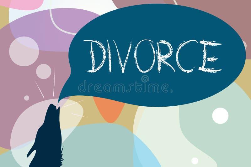 Scrittura concettuale della mano che mostra divorzio Disfacimento legale di separazione di scioglimento del matrimonio del testo  illustrazione di stock