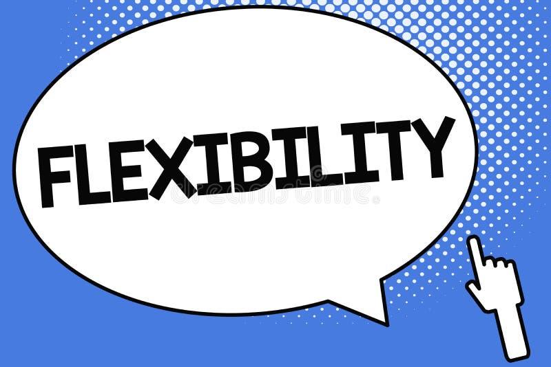 Scrittura concettuale della mano che mostra flessibilità Foto di affari che montra qualità di piegamento modificata facilmente se illustrazione di stock