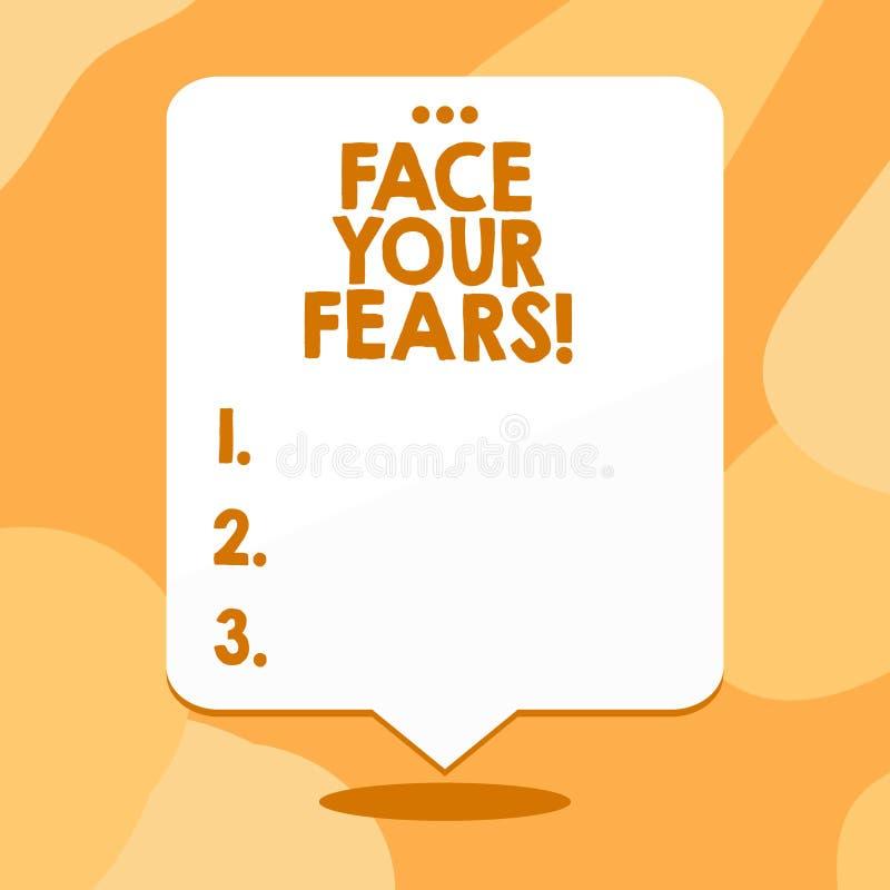 Scrittura concettuale della mano che mostra a fronte i vostri timori Il testo della foto di affari riconoscervi è impaurito qualc illustrazione vettoriale