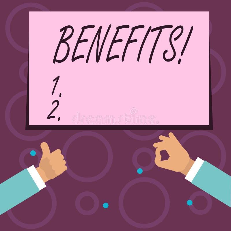 Scrittura concettuale della mano che mostra i benefici Aiuto di guadagno del reddito di interesse della compensazione di assicura royalty illustrazione gratis