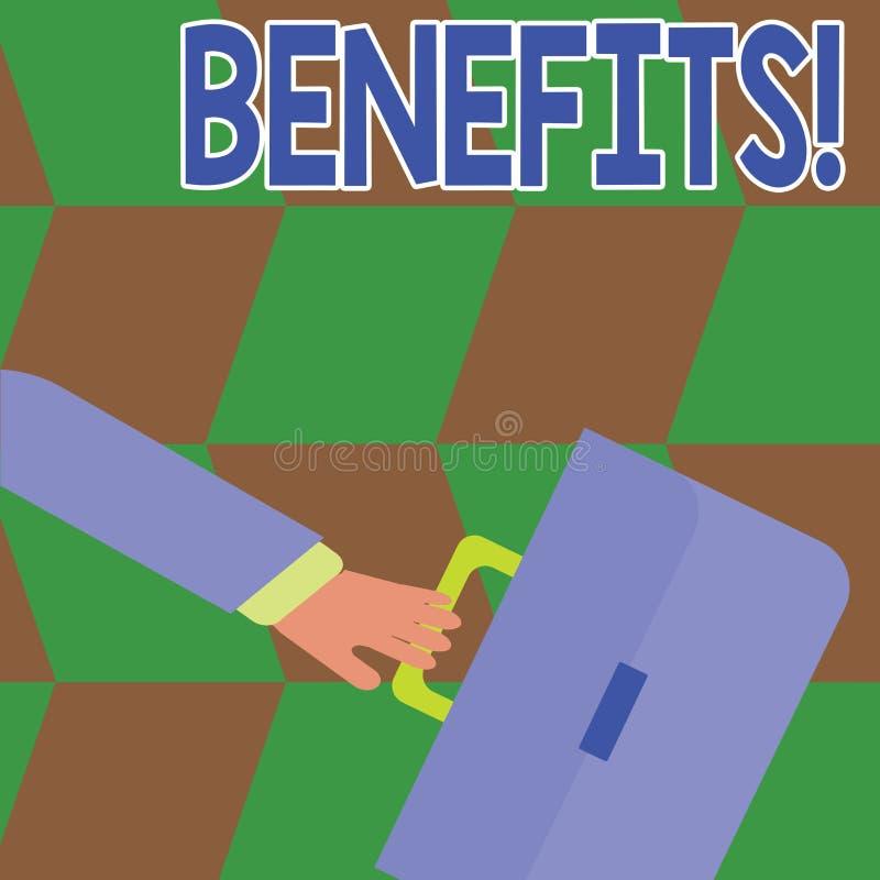 Scrittura concettuale della mano che mostra i benefici Aiuto di guadagno del reddito di interesse della compensazione di assicura illustrazione di stock