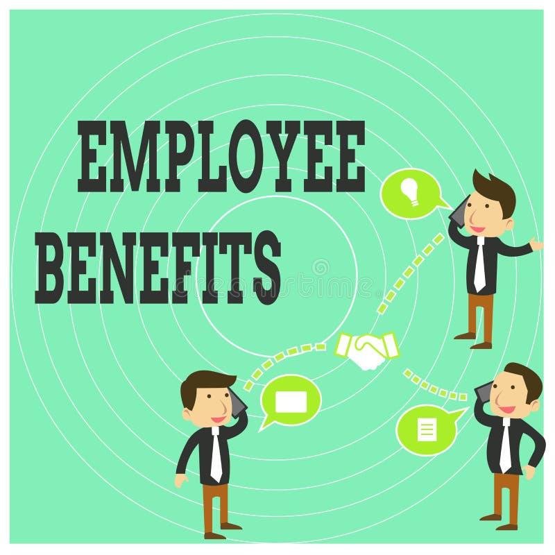 Scrittura concettuale della mano che mostra i benefici degli impiegati Il testo della foto di affari indiretto e la compensazione royalty illustrazione gratis