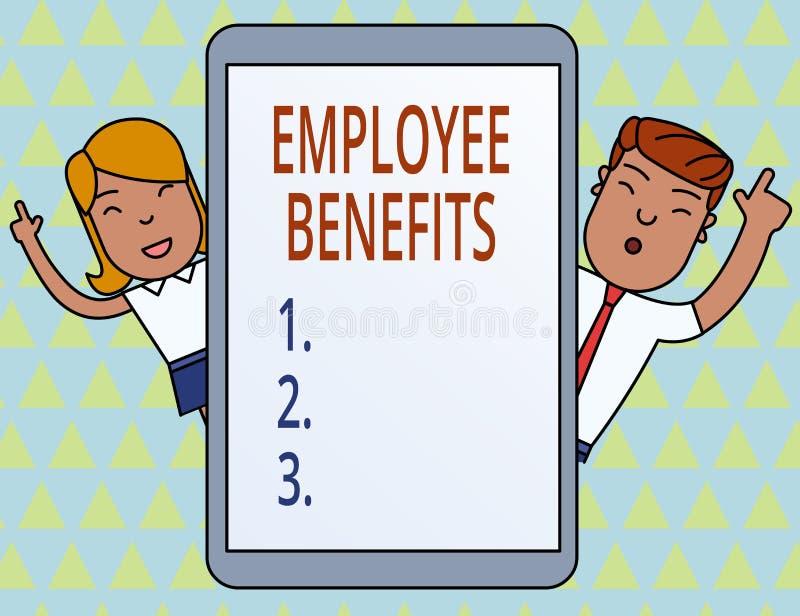 Scrittura concettuale della mano che mostra i benefici degli impiegati Montrare della foto di affari indiretto e compensazione de illustrazione di stock