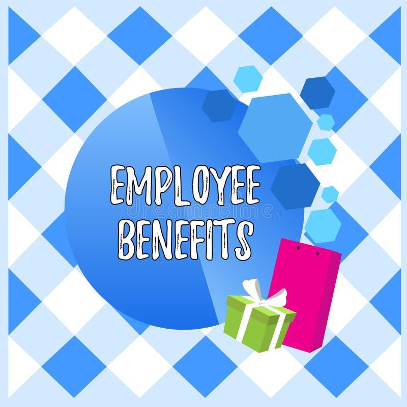 Scrittura concettuale della mano che mostra i benefici degli impiegati Montrare della foto di affari indiretto e compensazione de royalty illustrazione gratis