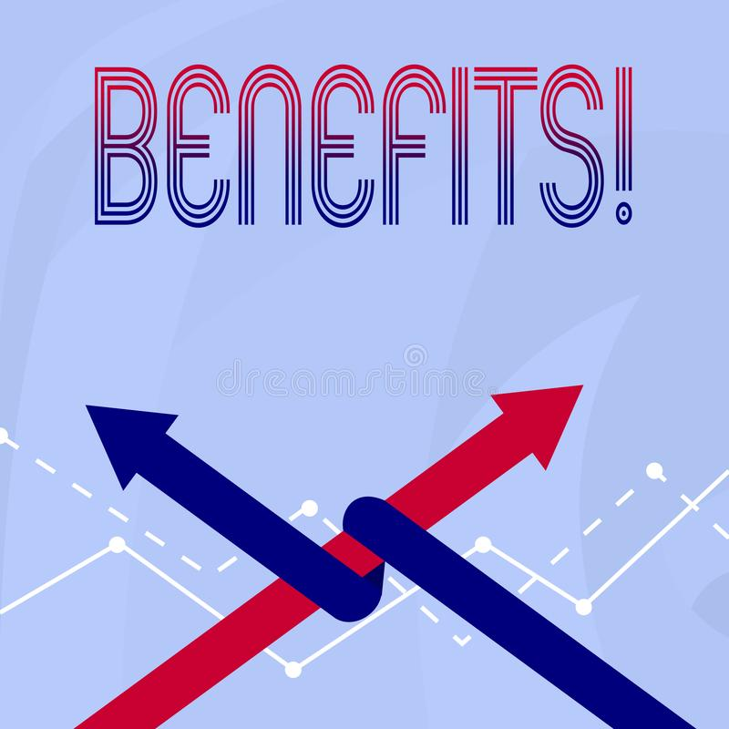 Scrittura concettuale della mano che mostra i benefici Foto di affari che montra il reddito di interesse della compensazione di a illustrazione di stock