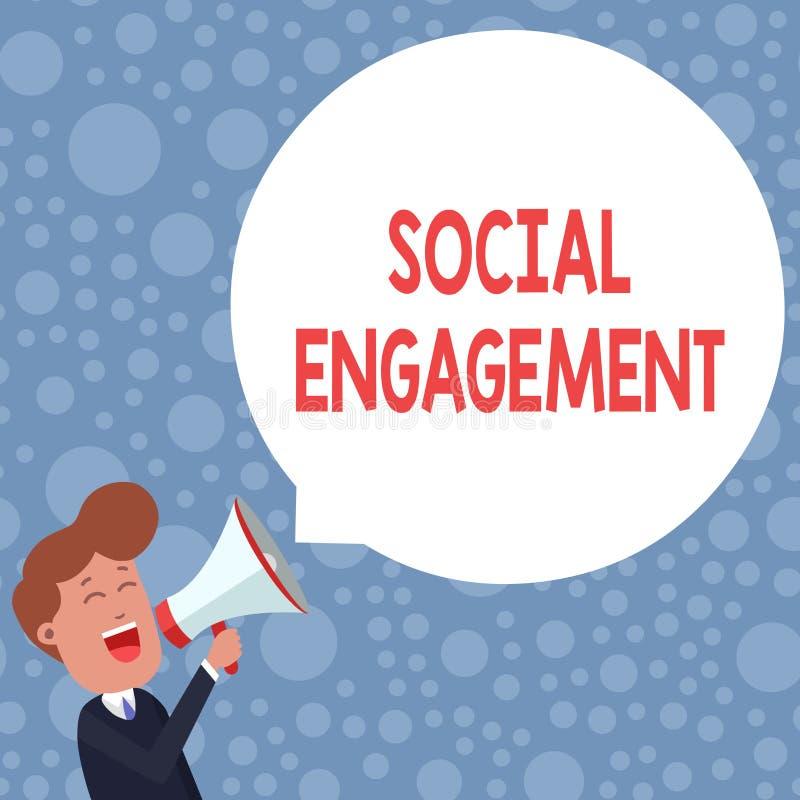 Scrittura concettuale della mano che mostra impegno sociale Foto di affari che montra grado di impegno in comunità in linea illustrazione di stock