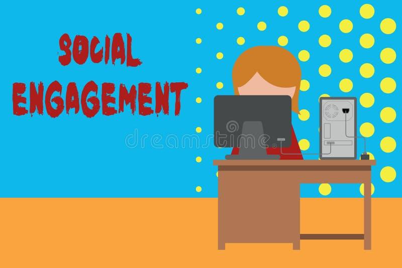 Scrittura concettuale della mano che mostra impegno sociale Foto di affari che montra grado di impegno in comunità in linea royalty illustrazione gratis