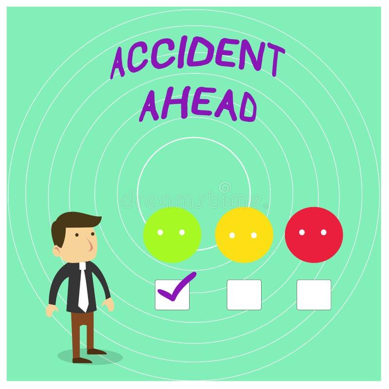 Scrittura concettuale della mano che mostra incidente avanti La foto di affari che montra l'evento sfavorevole è deviazione pront illustrazione vettoriale