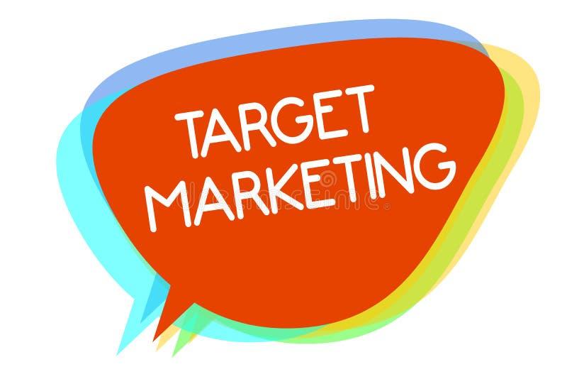 Scrittura concettuale della mano che mostra introduzione sul mercato di obiettivo Foto di affari che montra i clienti dei clienti illustrazione vettoriale