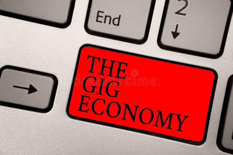 Scrittura concettuale della mano che mostra l'economia dell'evento Il mercato del testo della foto di affari dei contratti a brev fotografia stock