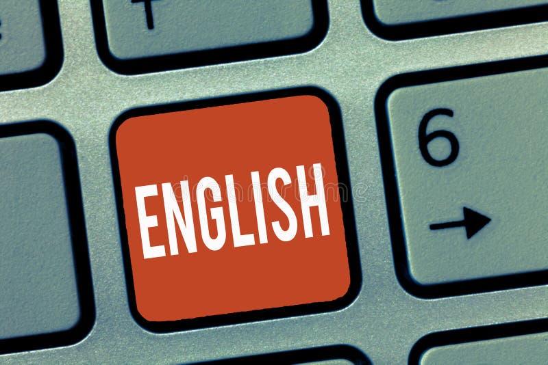 Scrittura concettuale della mano che mostra l'inglese Montrare della foto di affari si è riferito in Inghilterra che mostra la cu immagini stock