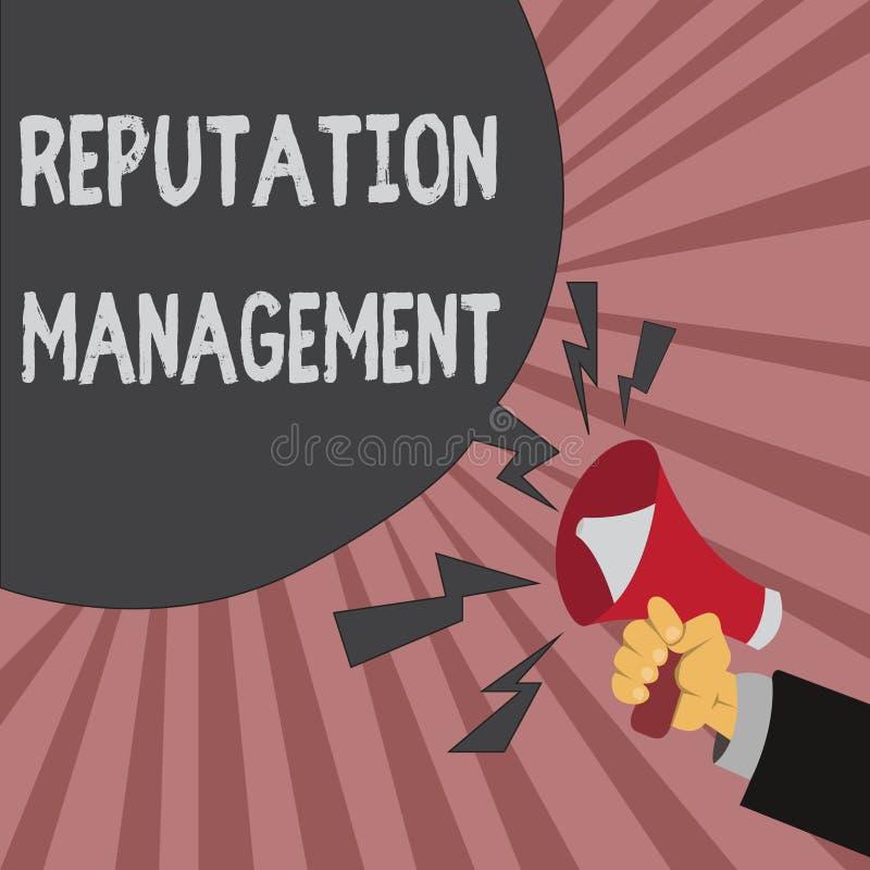 Scrittura concettuale della mano che mostra la gestione di reputazione La foto di affari che montra l'influenza e controlla il ri illustrazione vettoriale
