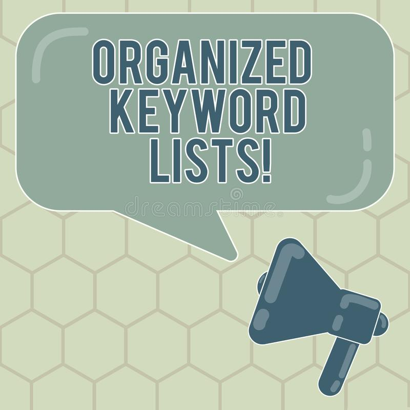 Scrittura concettuale della mano che mostra le liste organizzate di parola chiave Testo della foto di affari che prende lista del illustrazione di stock
