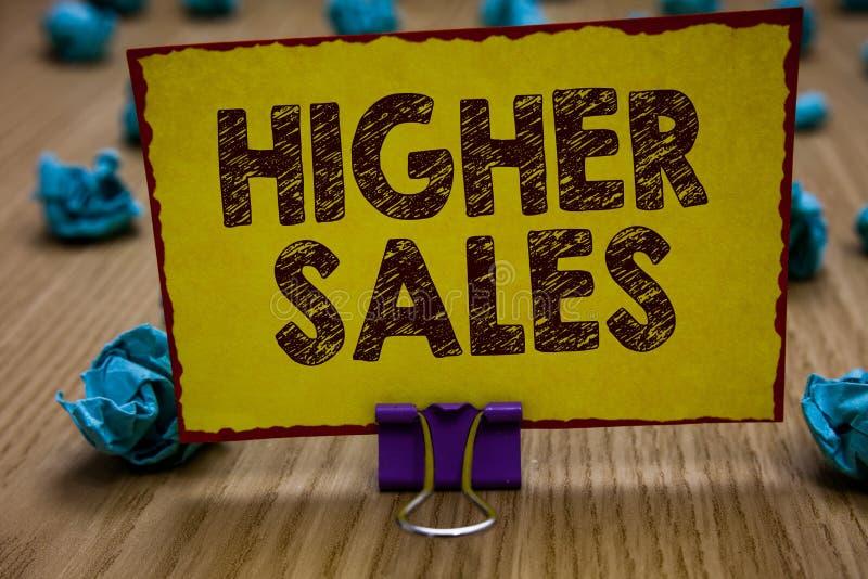 Scrittura concettuale della mano che mostra le più alte vendite La foto di affari che montra i prodotti ed i servizi venduti medi fotografie stock libere da diritti