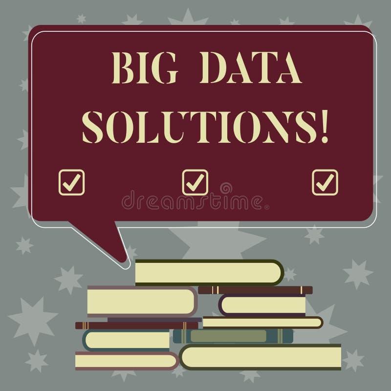 Scrittura concettuale della mano che mostra le soluzioni di Big Data Foto di affari che montra volume massiccio medio di entrambi royalty illustrazione gratis