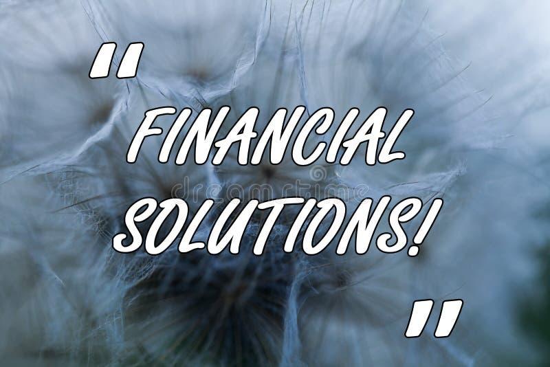 Scrittura concettuale della mano che mostra le soluzioni finanziarie Testo della foto di affari per risparmiare soldi sui bisogni immagini stock