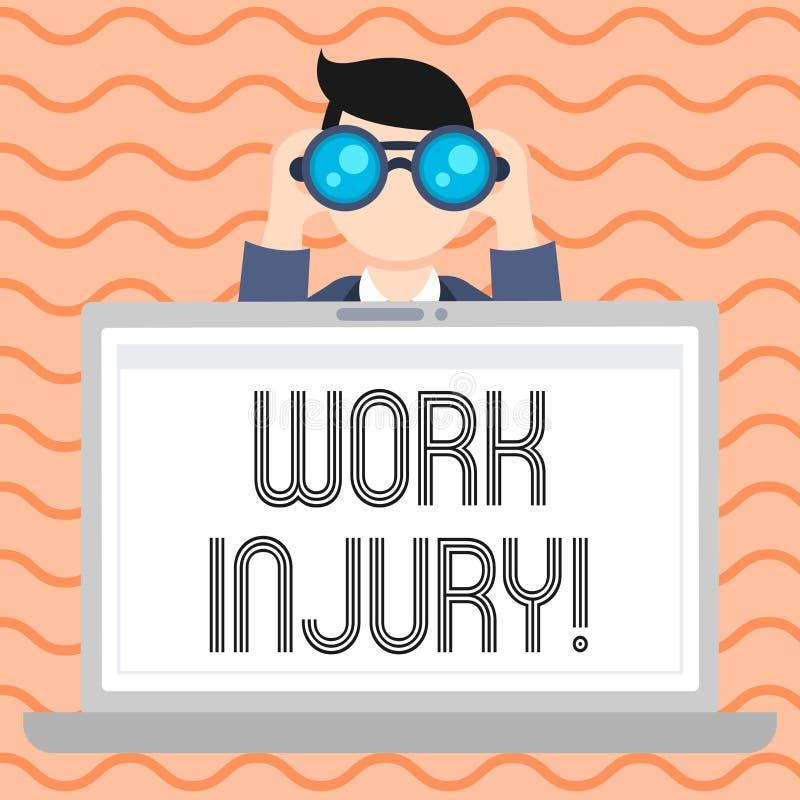 Scrittura concettuale della mano che mostra lesione di lavoro Foto di affari che montra incidente cui si è presentato durante e c illustrazione vettoriale