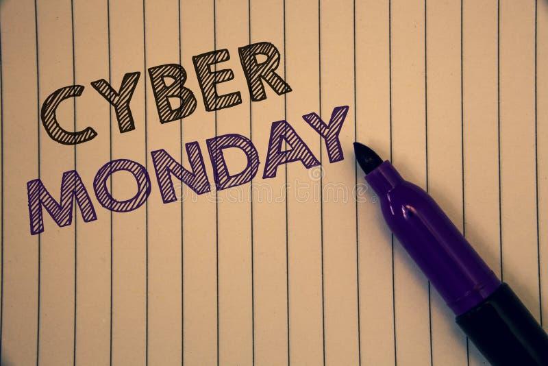 Scrittura concettuale della mano che mostra lunedì cyber Foto di affari che montrano le vendite speciali dopo Black Friday E-comm immagini stock libere da diritti